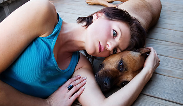 bigstock-Woman-and-a-dog-11749895