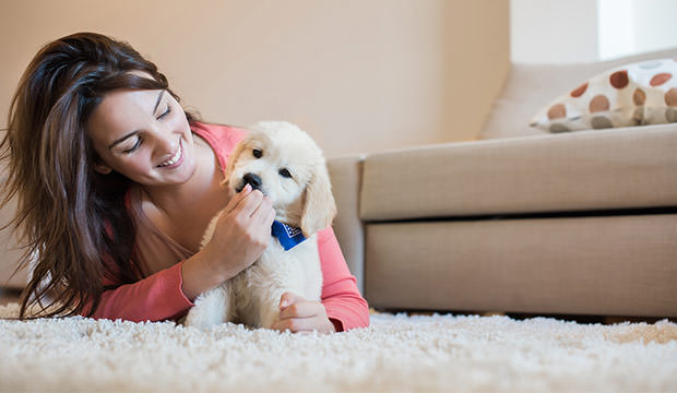 bigstock-Woman-With-Puppy-92255753