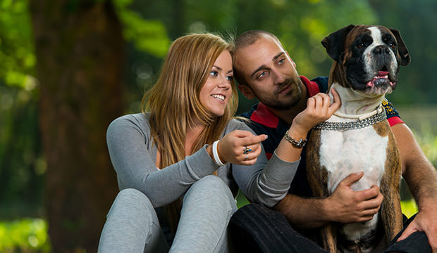 bigstock-Couple-Playing-With-Dog-52760185